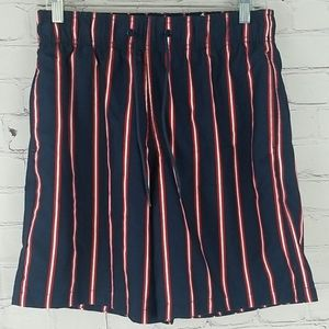 H&M red white & blue striped swim shorts size S